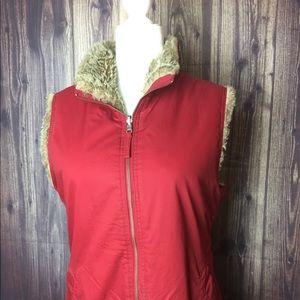 GAP Faux Fur Reversible Vest Jacket Red Size M